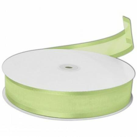 7/8 Inch Organza Satin Edged Ribbon 25  Yards Bolt - Mint Green - Mint Green Ribbon