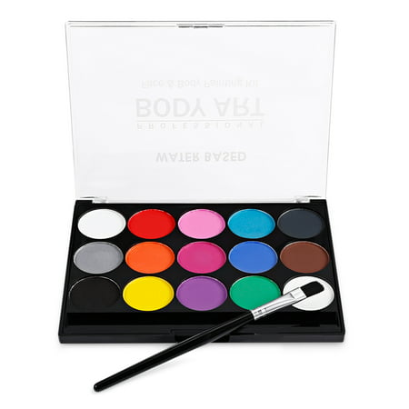 Face Paint Kit Professional Water Based Body Paint 15 Colors Washable Non-Toxic Paints 1 Paintbrush for Kid Sensitive Skin Halloween Costume Makeup Party Supplies - Children Halloween Makeup