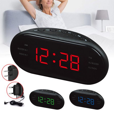AM/FM LED Alarm Clock Digital Radio Electronic Clocks Snooze Desktop Function,