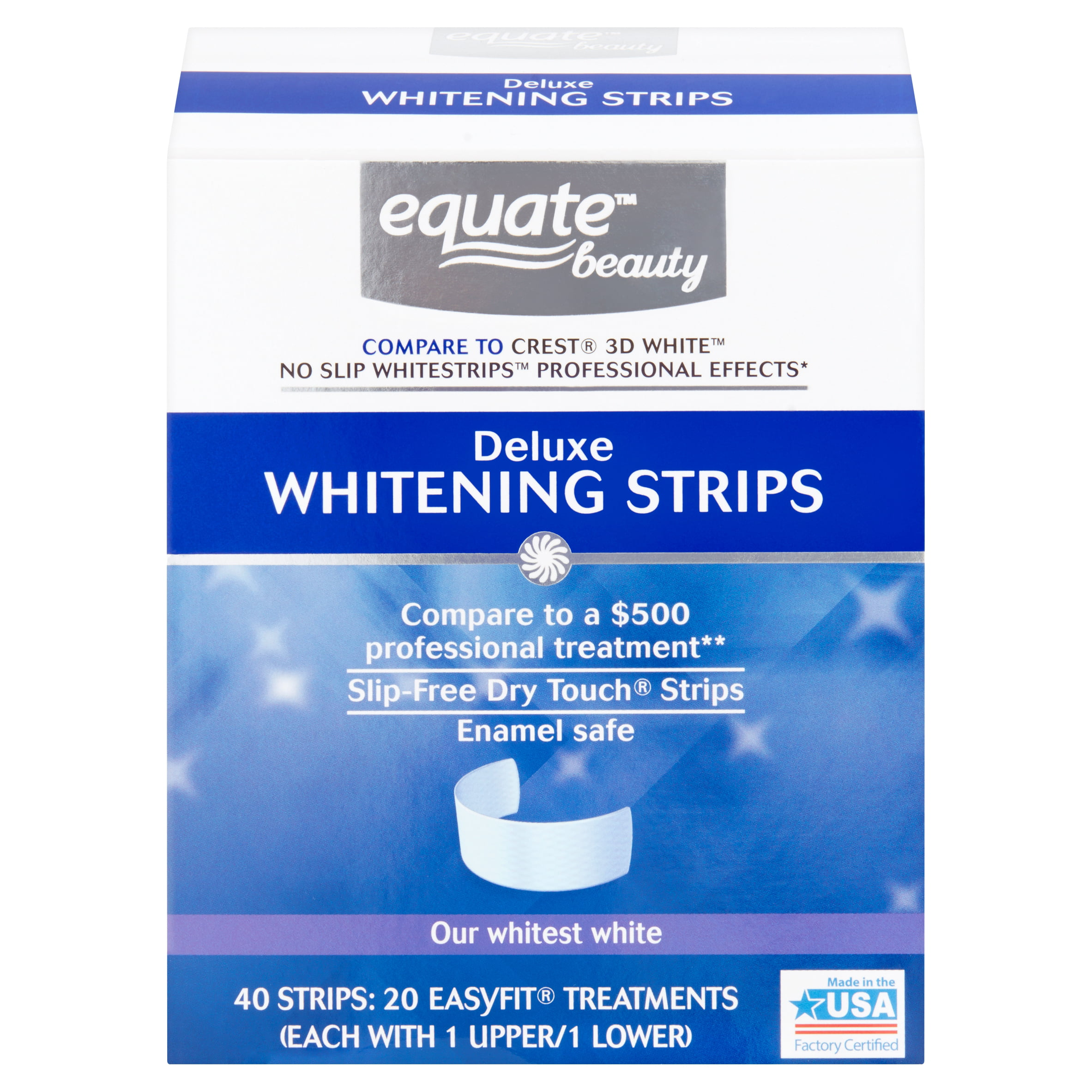 Equate Beauty Deluxe Teeth Whitening Strips 20 Day Treatment Walmart Com Walmart Com