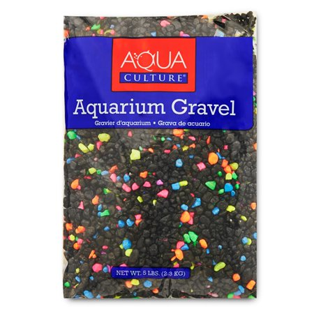 (2 Pack) Aqua Culture Aquarium Gravel Mix, Neon Starry Night, 5-Pound