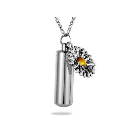 Sunflower Charm Cylinder Cremation Memorial Urn Ash Holder Necklace Key Chain (Sunflower Charm)