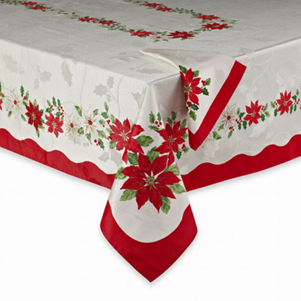 BB&B Poinsettia Flowers Fabric Tablecloth Christmas Table Cloth 52x70 Ob