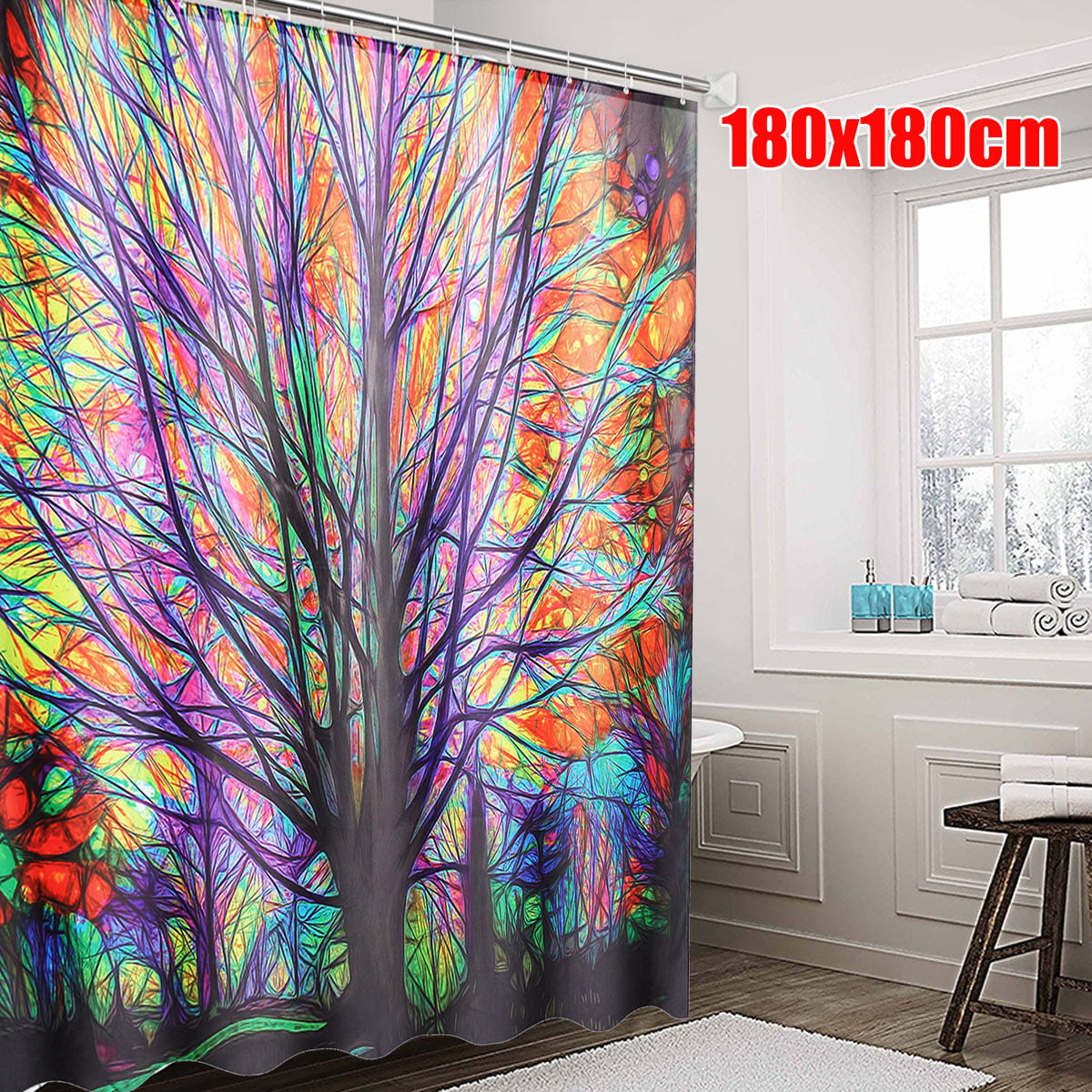 Shower Curtain With 12 Hooks Stylish Colorful Pattern Waterproof Fabric Bathroom