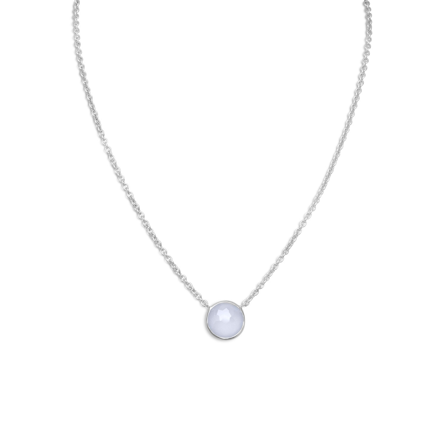 Blue Dyed Chalcedony Necklace Round Shape Rhodium on Sterling Silver by unknown