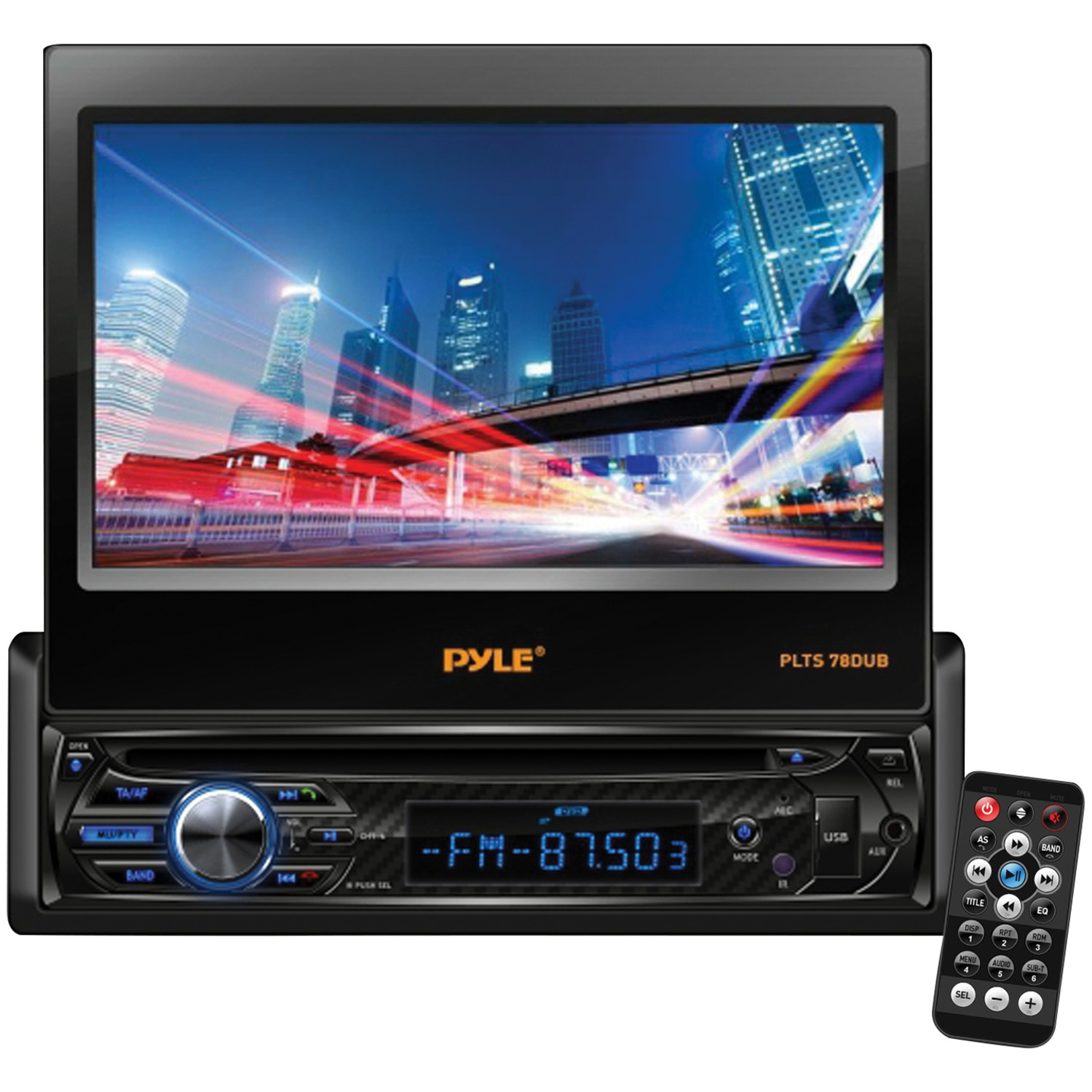 PYLE PLTS78DUB - 7'' Touch Screen Motorized Detachable TFT/LCD Monitor With DVD/CD/MP3/AM/FM Bluetooth Receiver