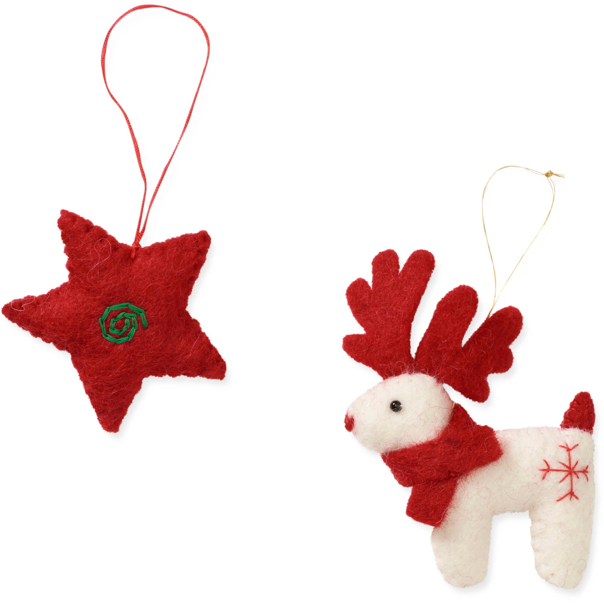 2-Piece Reindeer & Star Ornament Set by Friends Handicrafts for Global Goods Partners