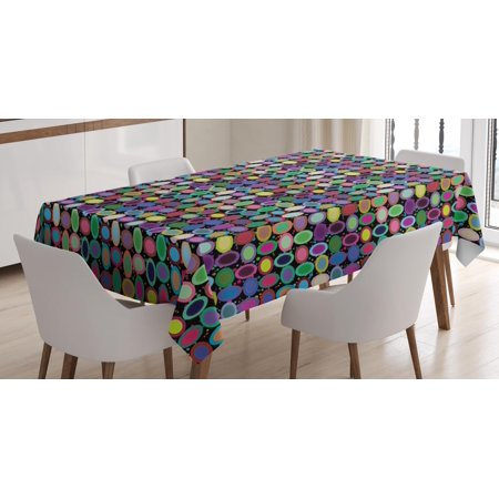 Geometric Tablecloth, Abstract Colorful Figures and Tile of Concentric Oval Shapes on Dotted Background, Rectangular Table Cover for Dining Room Kitchen, 60 X 90 Inches, Multicolor, by Ambesonne