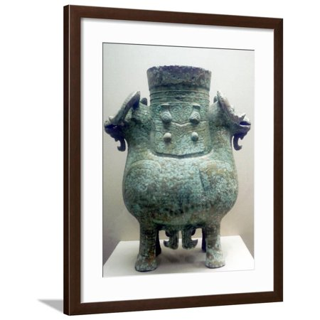 Bronze Ritual Vessel, Shang Dynasty, China, 12th Century BC Framed Print Wall Art