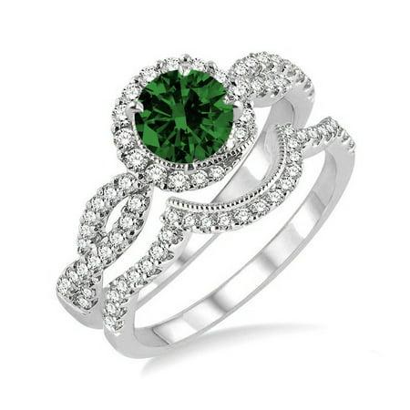 6ca1dfa29923e6 JeenMata - Infinity Round cut 1.50 Carat Emerald and Diamond Bridal Set in 10k  White Gold affordable wedding ring set - Walmart.com