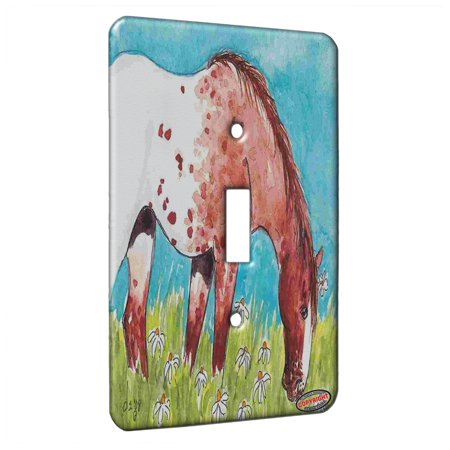 KuzmarK™ Single Gang Toggle Switch Wall Plate - Snowcap Strawberry Roan Appaloosa with Daisies Horse Art by Denise Every