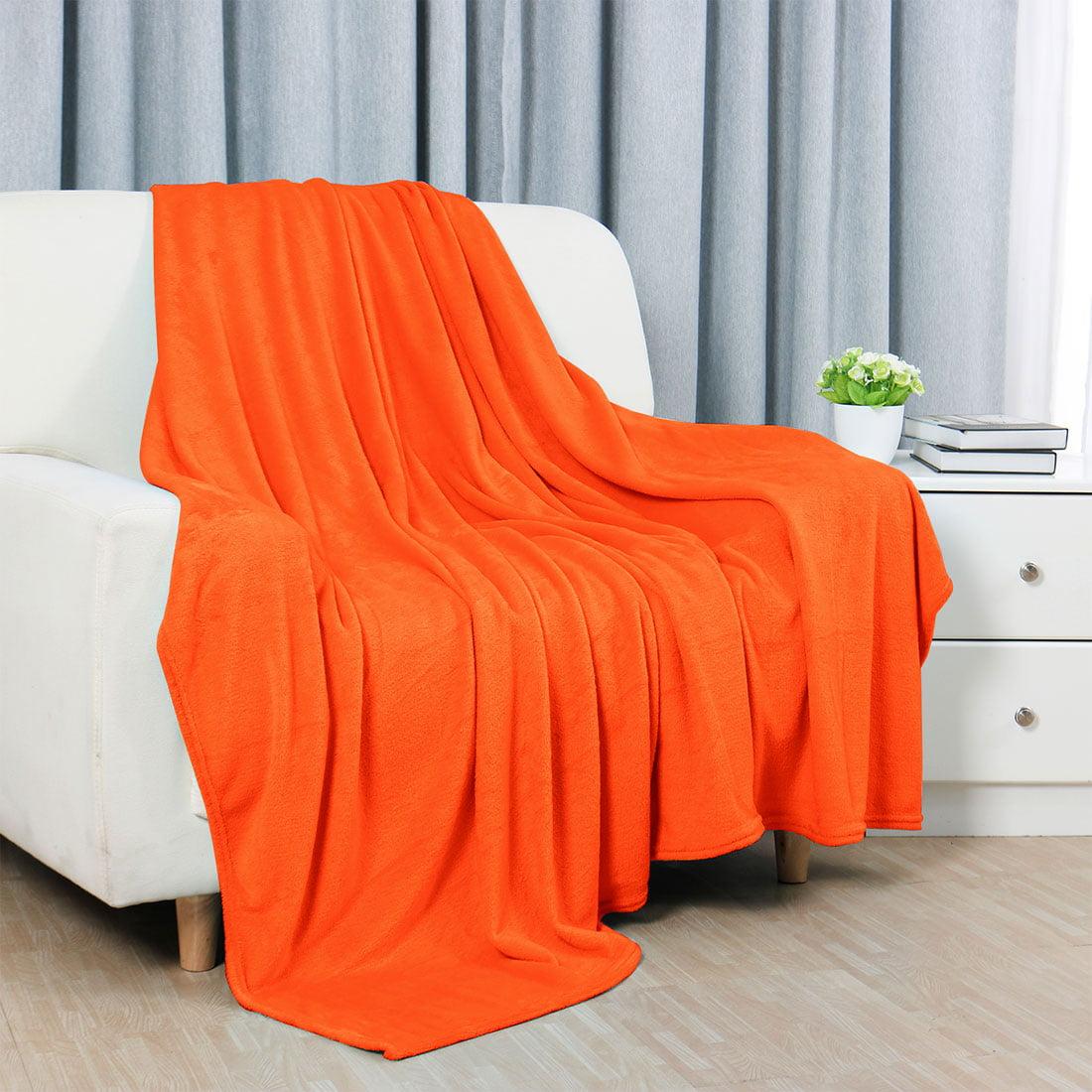 Unique BargainsTwin Bedding Sofa Soft Fleece Throws Blanket Orange 59 x78 Inch