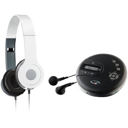 GPX PC332B Personal CD Player and iLive IAH54 On-Ear Headphones