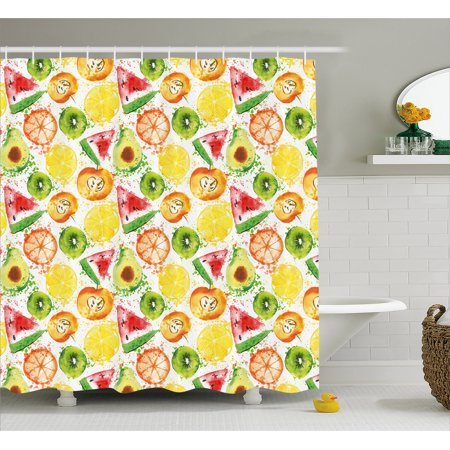 Fruits Shower Curtain Paintbrush Mixed Plants Seed Splash Watermelon Peach Avocado Design Fabric Bathroom