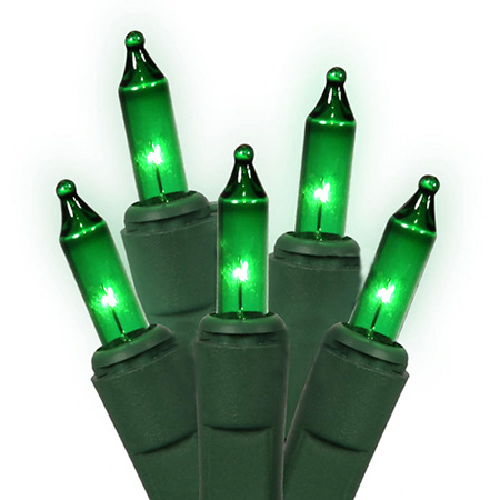 "Set of 50 Green Everglow Mini Christmas Lights 2"" Bulb Spacing - Green Wire"