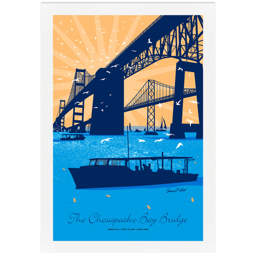 Melissa Van Hise Cheaspeake Bay Bridge by Ramon Matheu Framed Graphic Art