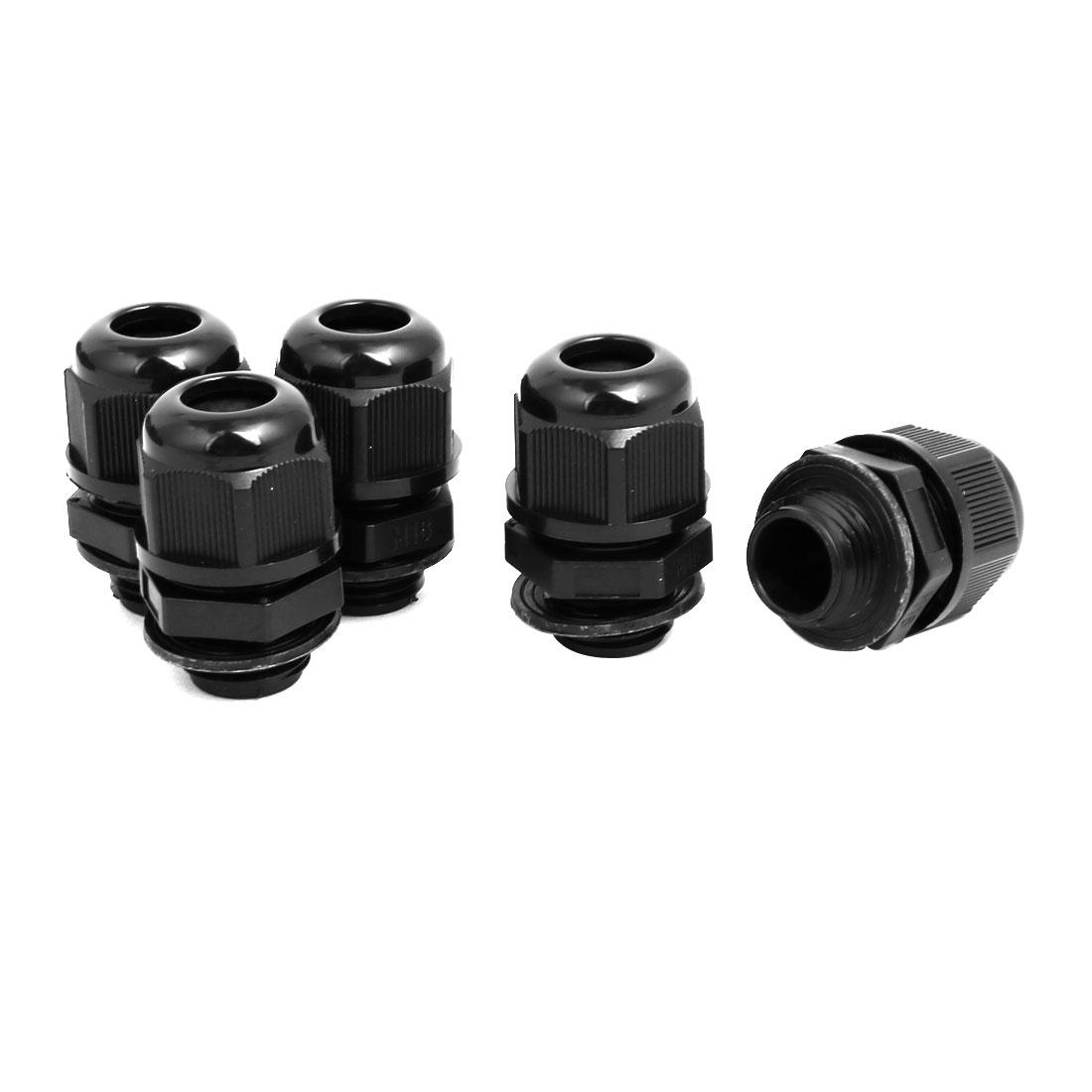M16 x1.5mm 4mm 2 Holes Adjustable Cables Gland Black 5pcs