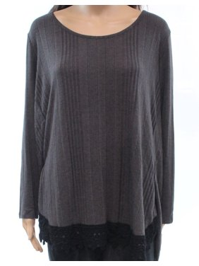 f2c50184404 Product Image Style   Co. NEW Gray Womens Size 0X Plus Scoop Neck Ribbed  Sweater