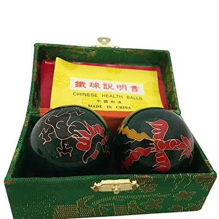 Baoding Balls Chinese health Massage Exercise Stress Balls - Green Dragon & Phoenix #3