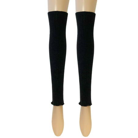 Wrapables® Women's Ribbed Warm Knitted Leg Warmers, Black](Leg Warmers Band)