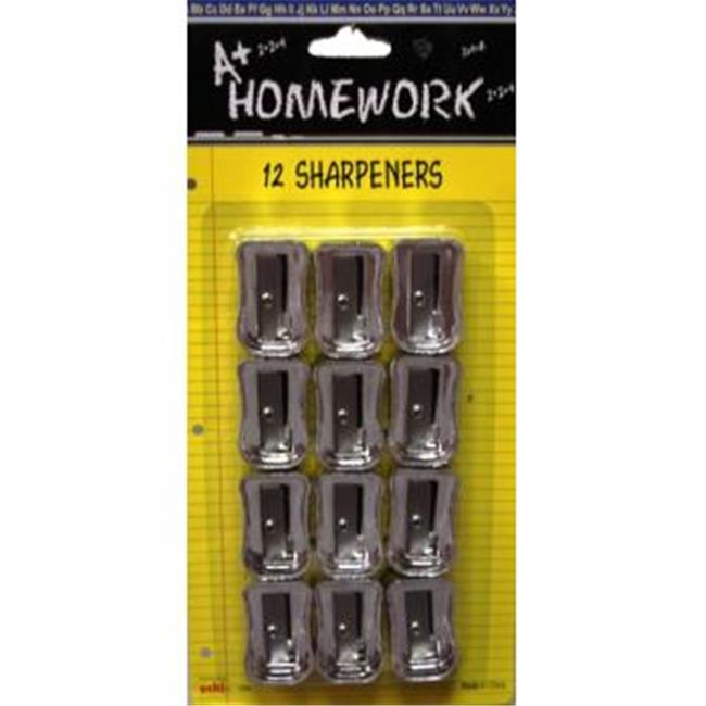 A Homework Pencil Sharpeners - 12 pack - silver plastic - Case of 48