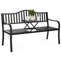Best Choice Products Cast Iron Patio Garden Double Bench Seat for Outdoor, Backyard w/ Pullout Middle Table