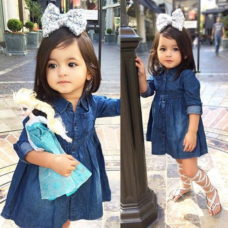 Toddler Kids Baby Girls Denim Jeans One Picece Princess Dress Long Sleeve Skirt - image 4 of 5