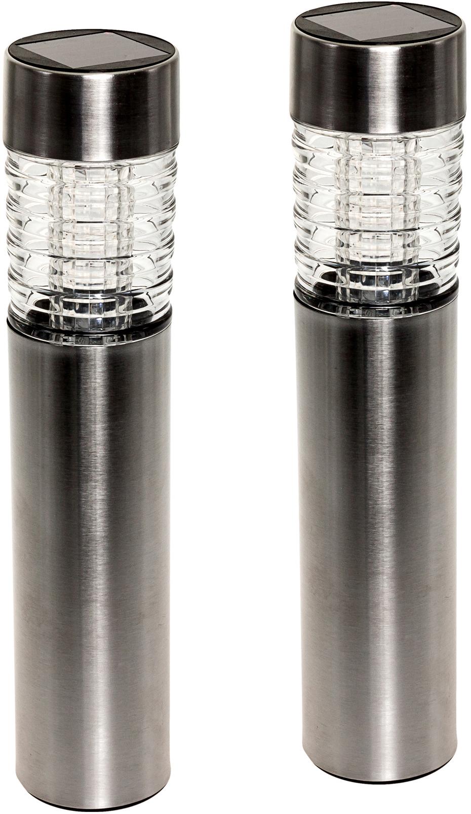 GreenLighting Bollard Path Lights Solar LED Lights Stainless Steel, 12 Pk