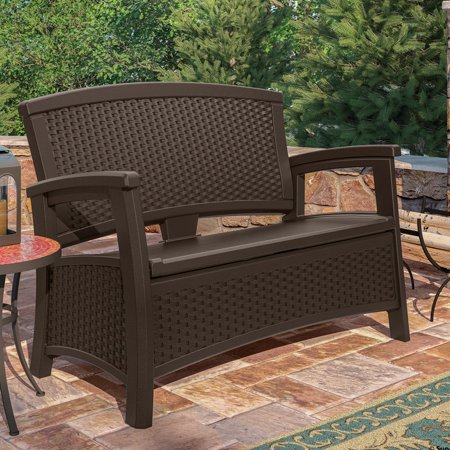 Suncast Elements Resin Wicker Bench with Storage (Plastic Outdoor Storage Bench)