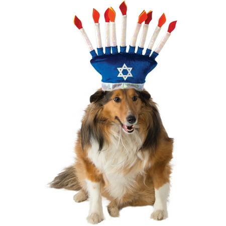 Blue Menorah Chanukah Pet Dog Cat Hanukkah Costume - Hanukkah Hats