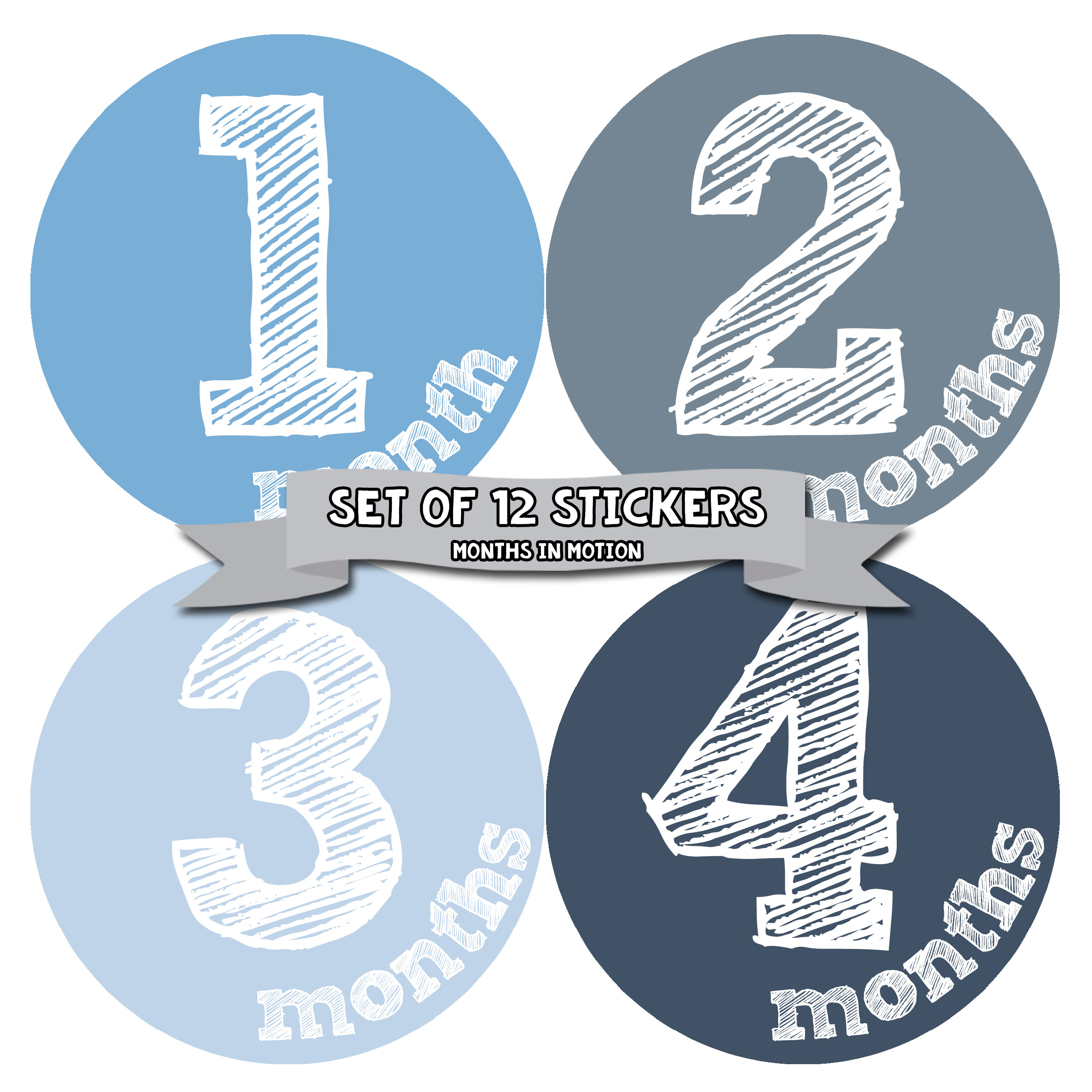 Monthly Baby Stickers by Months In Motion | 12 Month Milestone Sticker for Newborn Babies (Style 824)