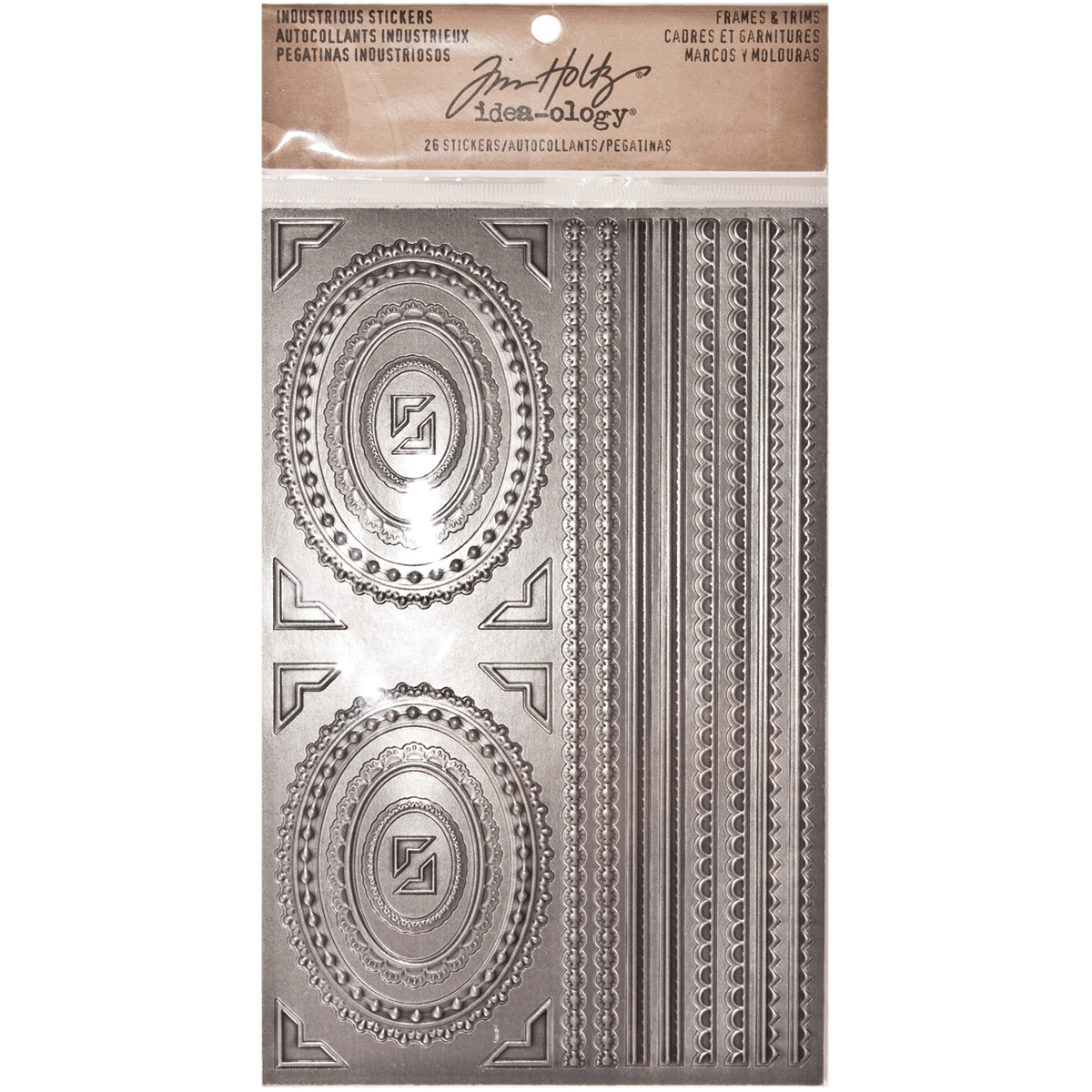 "Idea-Ology Industrious Stickers 5""X8""-Metallic Frames & Trims"