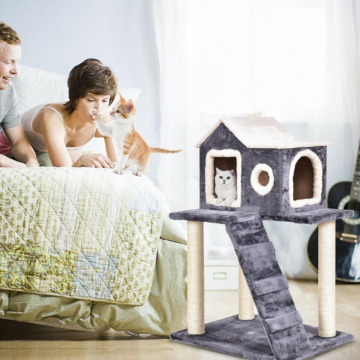 Griffoir Chat Fait Maison gymax arbre à chat centre d'activité géant griffoir maison grimper à chat  renforcée 60 x 45 x 88 cm gris avec echelle