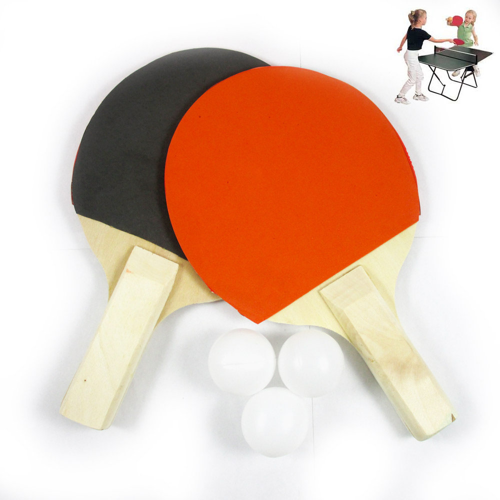 2PC PING PONG PADDLE Ping Pong SET RACKET RUBBER BAT W  3 BALLS FUN FOR KIDS by KOLE IMPORTS