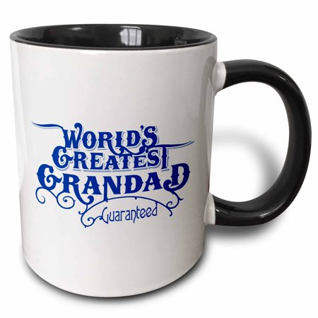 3dRose Worlds Greatest Grandad Guaranteed Design in Blue and White - Two Tone Black Mug, 11-ounce