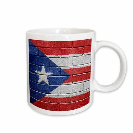 3dRose National flag of Puerto Rico painted onto a brick wall Rican, Ceramic Mug,