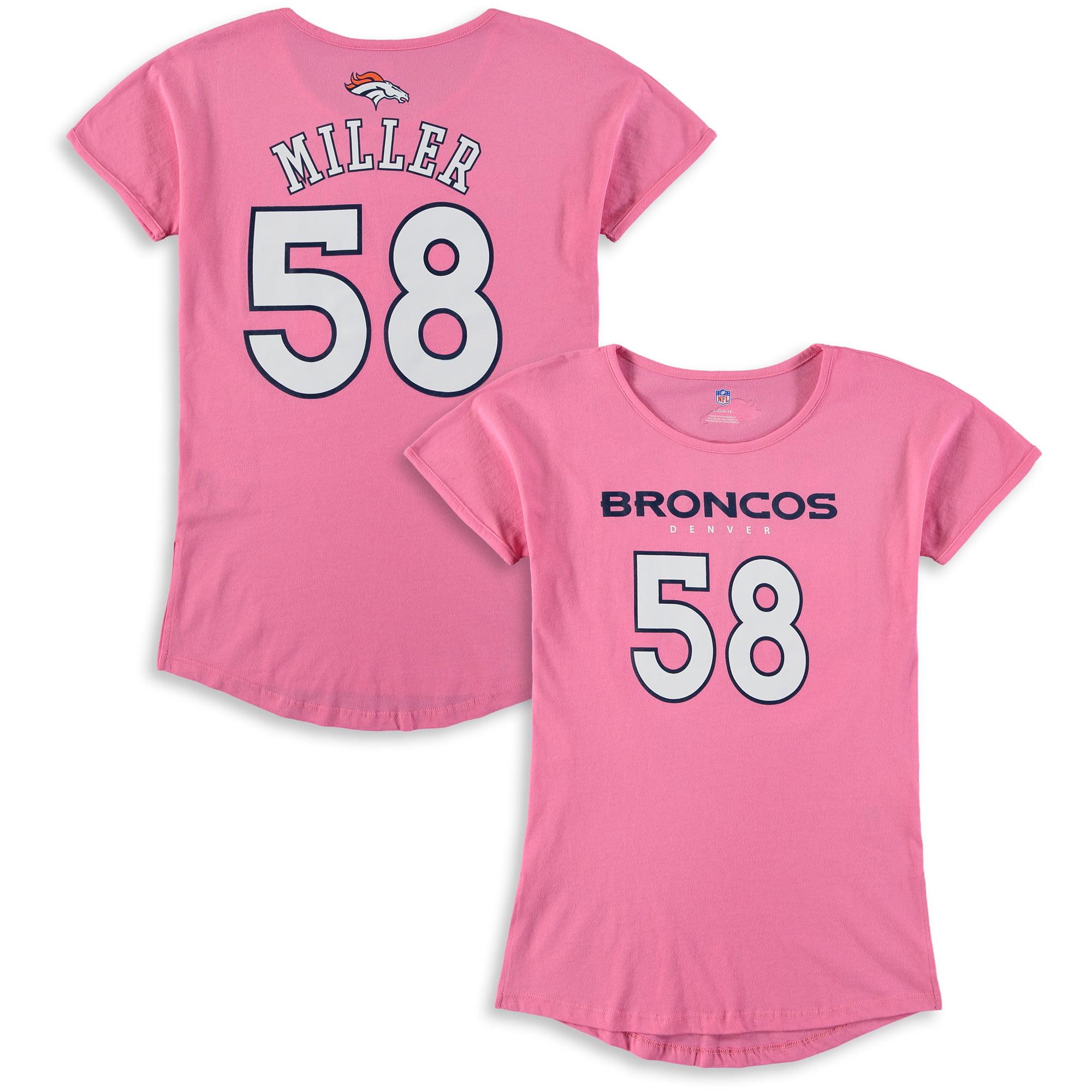 Von Miller Denver Broncos Girls Youth Dolman Mainliner Name & Number T-Shirt - Pink