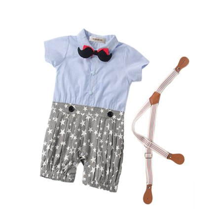 Baby Tuxedo Romper (StylesILove 3D Mustard Bowtie Star Pattern Stylish Tuxedo Baby Boy Romper (3-6 Months,)
