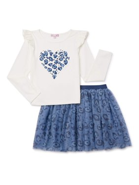 Mila & Emma Exclusive Girls Ruffle Sleeve Top and Tutu Skirt, 2-Piece Outfit Set, Sizes 4-18