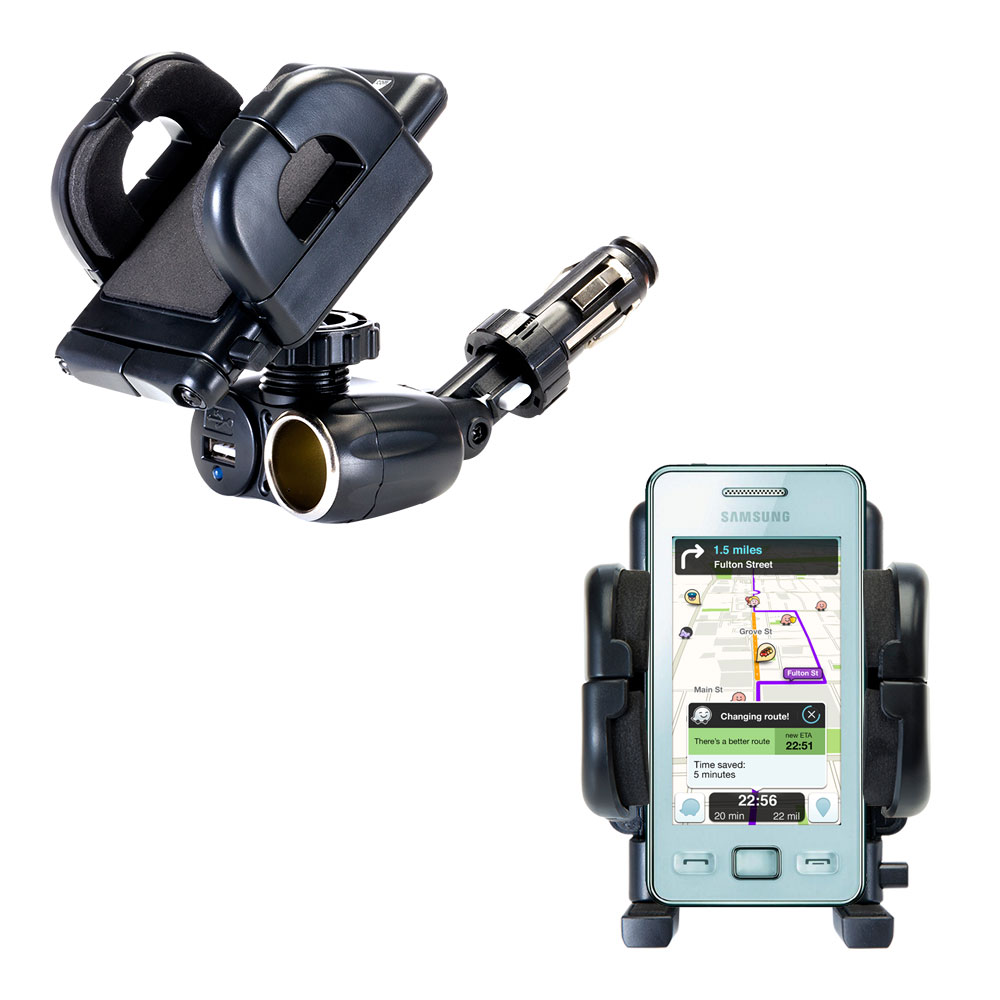 Dual USB / 12V Charger Car Cigarette Lighter Mount and Holder for the Samsung Star II