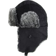 59ab3cd7856 Black Corduroy Aviator Trapper Hat Winter Cap Ski Warm Fur Cap Image 4 of 5