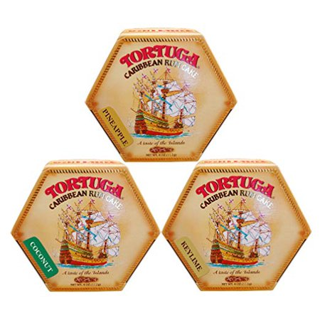 Tortuga Caribbean Rum Cake 4 Oz Mix Pineapple - Chocolate- Key lime Flavor  3 PACK FREE SHIPPING ()