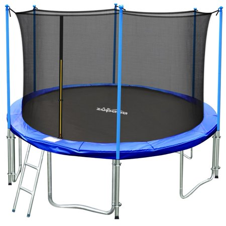 TÜV Approved Zupapa 14FT Round Trampoline with Enclosure, Ladder, Safety Pad & Cover - Blue