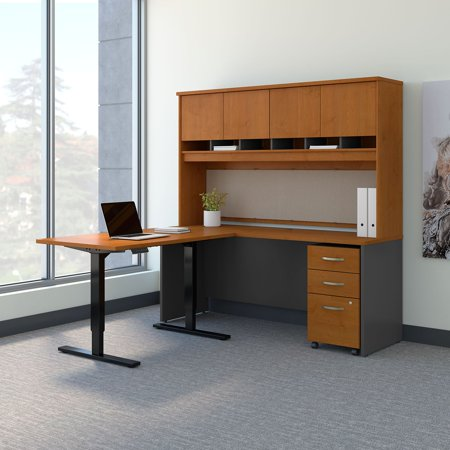 Bush Business Furniture Series C 72 in. L Shaped Desk with 48W Adjustable Height Return and ...
