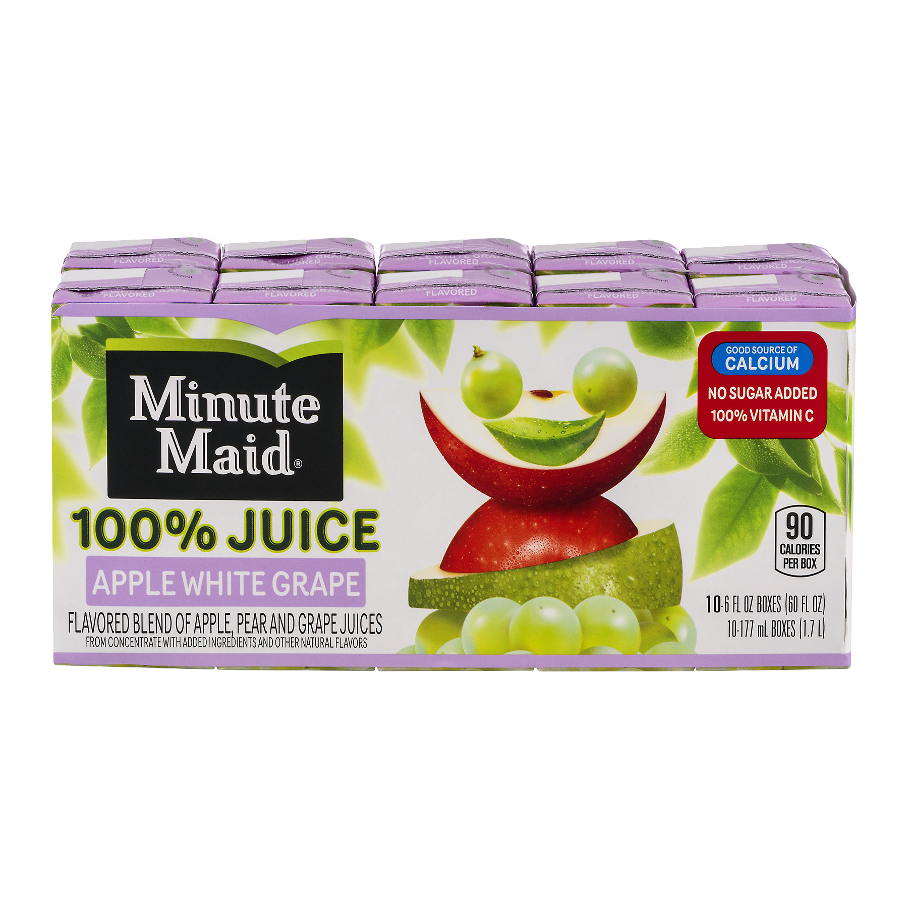 Minute Maid 100% Juice, Apple White Grape, 6 Fl Oz, 10 Count