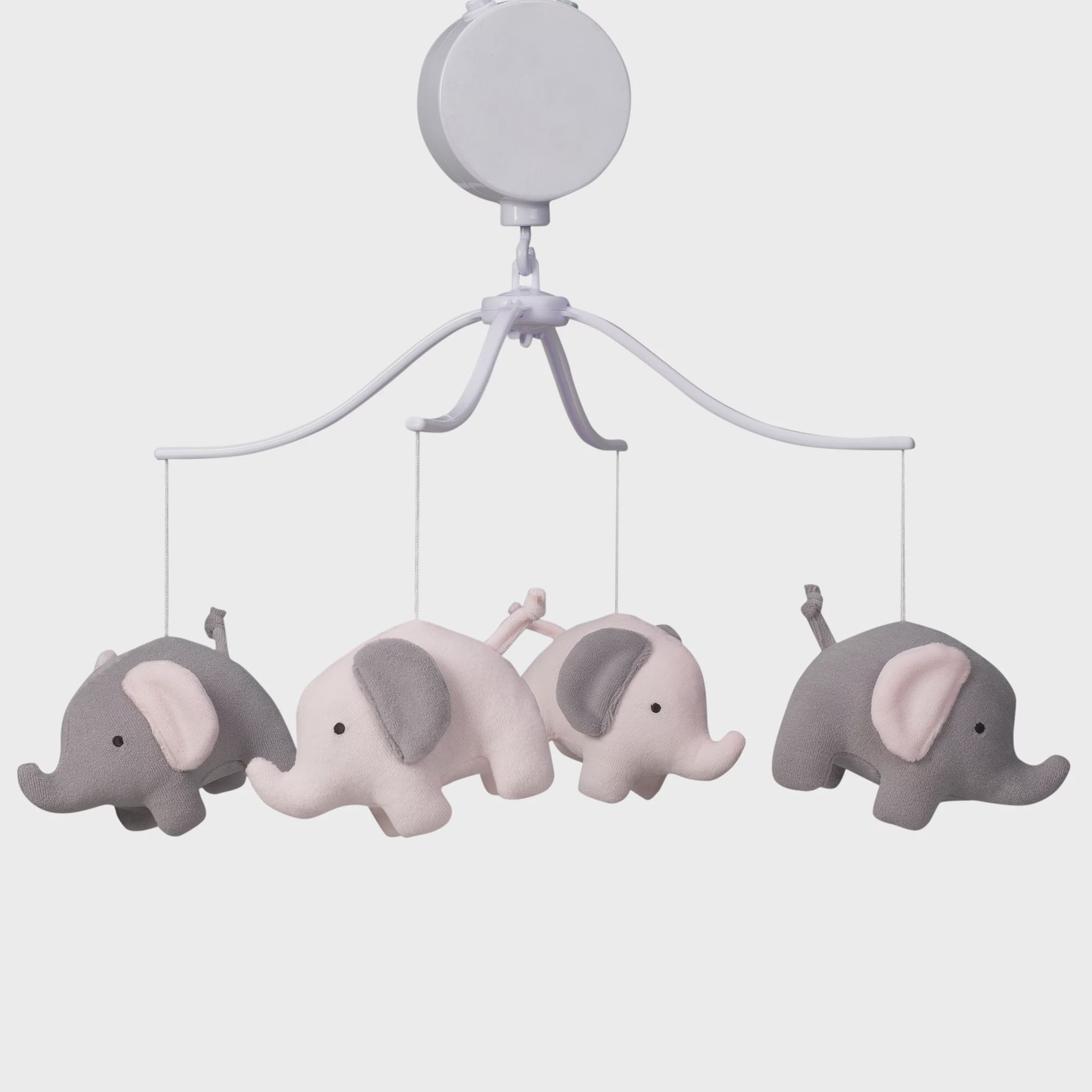 Bedtime Originals Eloise Pink Gray Elephant Musical Baby Crib Mobile by Bedtime Originals
