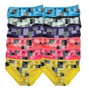 Womens Polyester Square Design Print Bikini Panty (12 Pack)