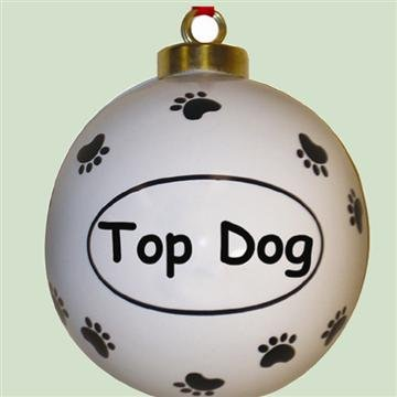 "Round Ceramic Christmas Ornament ""Top Dog"""