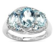 Malaika  2.14 Carat Genuine Aquamarine .925 Sterling Silver Ring