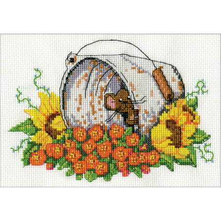 "Design Works Counted Cross Stitch Kit 5""X7""-Bucket Mouse Mini (14 Count)"